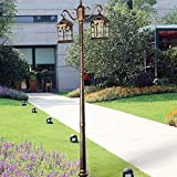 Kendal 8 feet high outdoor solar lamp post with two heads and LED Lights bronze