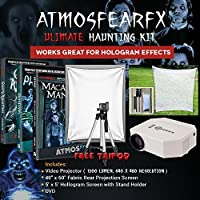 AtmosfearFX Ghostly Apparitions, Phantasms And Macabre Manor DVDs Ultimate Haunting Kit, Includes Translusent Screen, Hologram Screen With Stand Kit and Free Tripod
