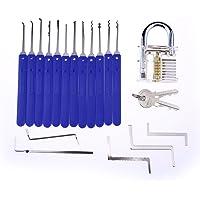 17 Pcs Lock Pick Set with Cloth Bag and Transparent Practice Padlock for Locksmith Beginners