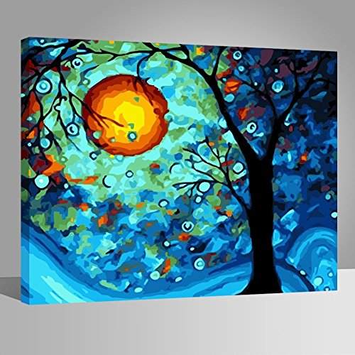 Wooden frame diy oil painting paint by number kit dream for Pre printed canvas to paint for adults