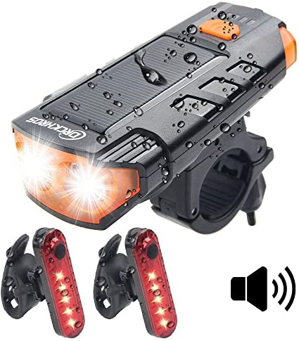 USB Rechargeable LED Bicycle Front Light Horn+Solar Powered Headlight Taillight