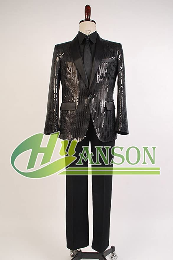 CosplaySky Daft Punk Costume Sparking Black Sequin Performance Outfits