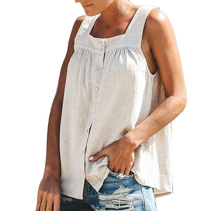 10dfcf2f22 Booming Moda Femminile Sciolto Pura Canotta Cotone E Lino - Top da ...
