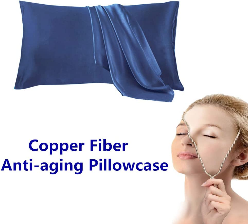 Copper Pillowcase for Fine Lines/Wrinkles Reduction & Hair Smoothing Made of 100% Copper Oxide Fiber,Natural beauty and clean environment,anti-aging for Sleeping Acne Prone Skin(Blue color 1pc)
