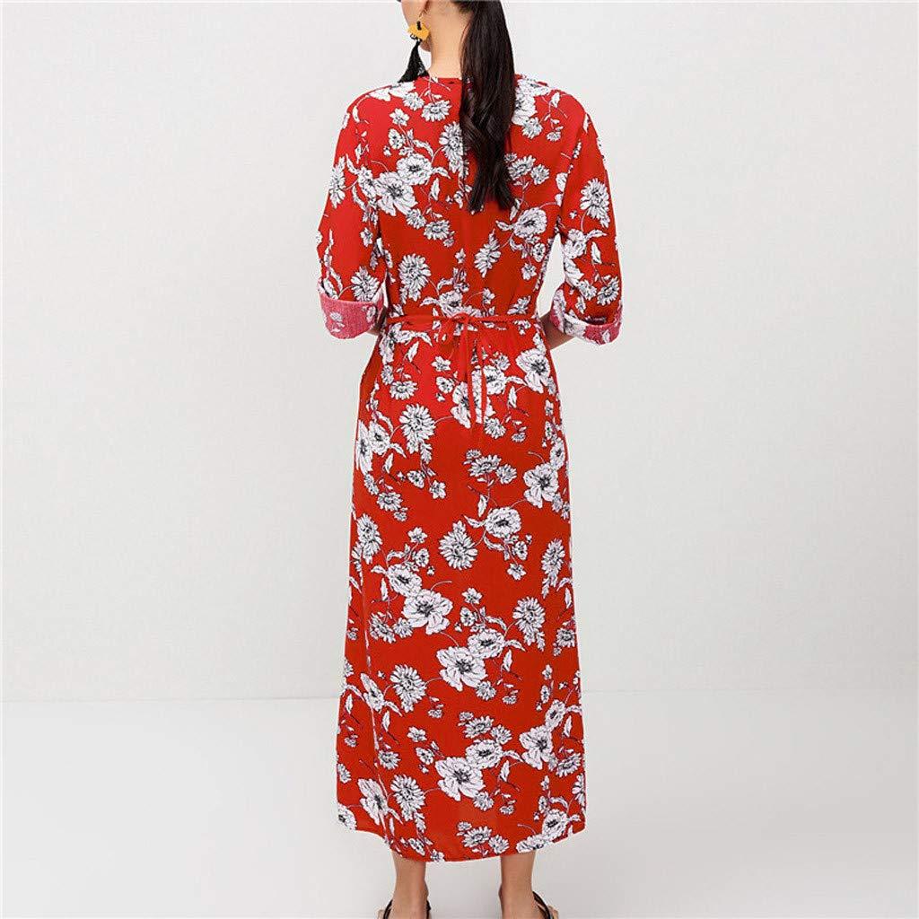 Mysky Fashion Women Vintage Floral Print Button Long Beach Dress Ladies Casual V-Neck Split Loose Wrist Dress