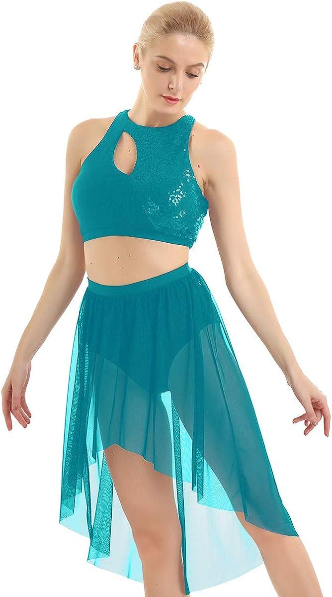 dPois 2pcs Femme Robe Danse Latine Classique Paillette Asym/étrique Justaucorps Gymnastique Jupette Danse Crop Top Robe Patinage Tenue Danse Contemporaine Moderne XS-XL