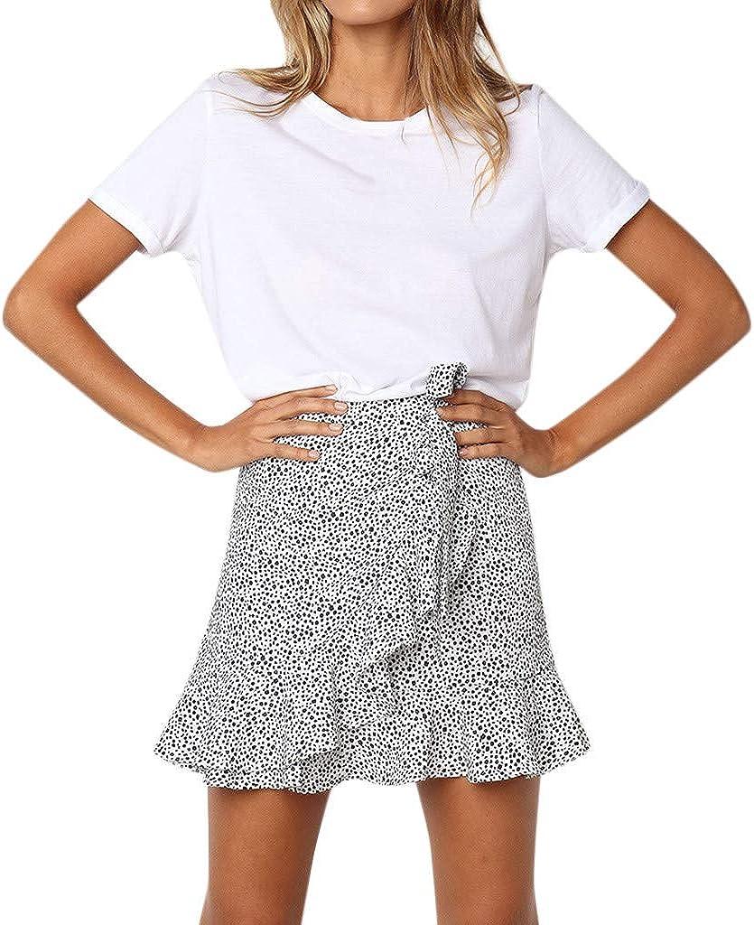 Nevera Women Leopard Printed Asymmetrical Ruffles High Waist Cute Casual Mini Skirt