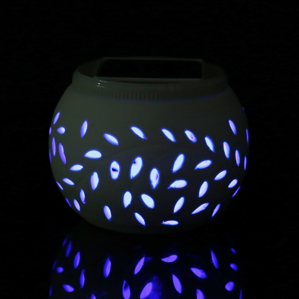 Hulorry Ceramics Solar Color Changing Stake Lights, Night Light Home Decorative Waterproof Wall Light Popular Solar Lamp Decoration Wall for Outdoor Lighting Garden/Yard/Path/Patio