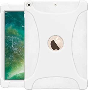 AMZER AMZ203678 Rugged Silicone Skin Jelly Slim Protective Heavy Duty Shockproof Anti Slip Kids Friendly Case for The New 9.7 iPad 2018 - Solid White