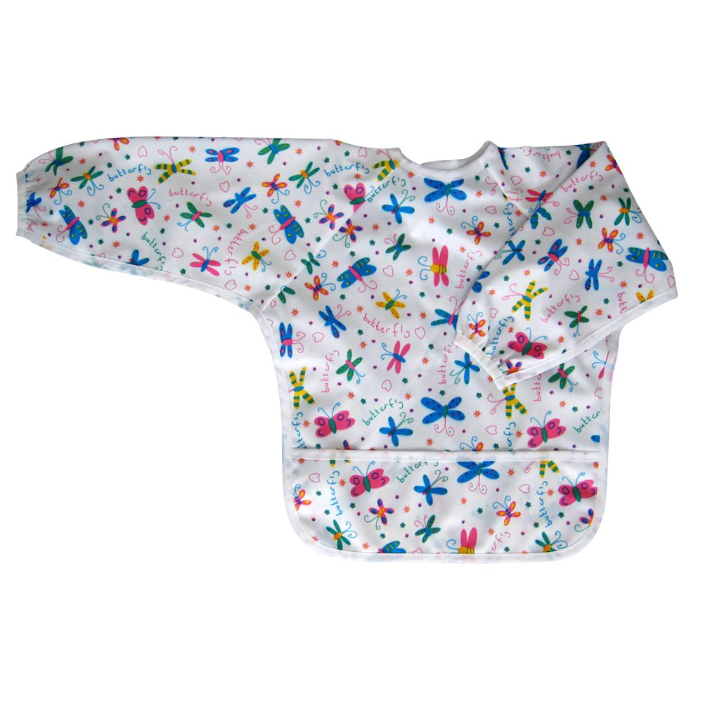 Ecoable Toddler Waterproof Bib with Sleeves - Art Smock for Kids (Medium 2-4 Years, Butterfly)