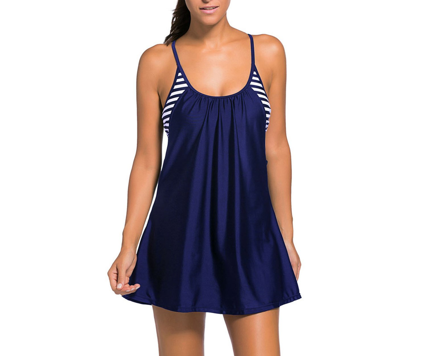Noon-Sunshine Large Size Unique Style Seamless Swimsuit Siamese Skirt,Navy Blue,L