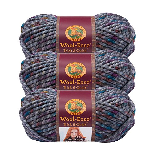((3 Pack) Lion Brand Yarn 640-527 Wool-Ease Thick and Quick Yarn, 80 Meters, Abalone)