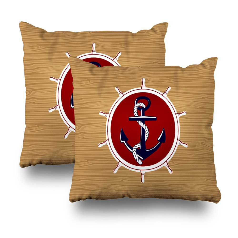 Decorativepillows Set Of 2 18 x 18 inch Throw Pillow Covers,Nautical Ships Wheels Anchor On Wood Grain Pattern Double-sided Decorative Home Decor Indoor/Outdoor Garden Sofa Bedroom Car Kitchen Nice