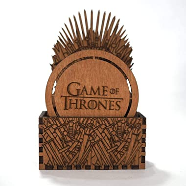Game of Thrones Coaster Set - Iron Throne - Laser cut and laser engraved wood coaster set. Perfect gift, memorabilia or collectible