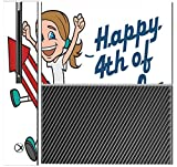 Happy 4th of July Quote Cute Girl on Firework American Flag Image Design Pattern Xbox One Console Vinyl Decal Sticker Skin by Trendy Accessories