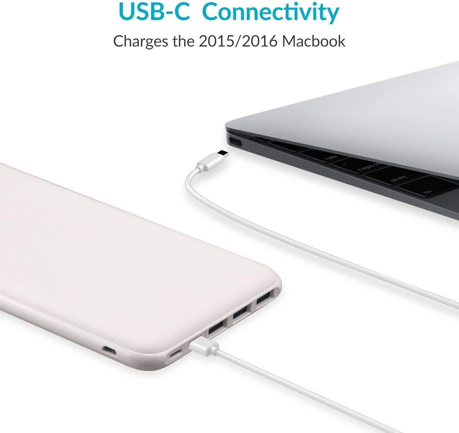 Ultra Slim Compact Backup Battery Compatible with MacBook iPhone 11//Pro Samsung-White Power Bank Portable Charger 26800mAh High Capacity 5V 3A Fast Charging USB C External Battery Pack with 4 Outputs