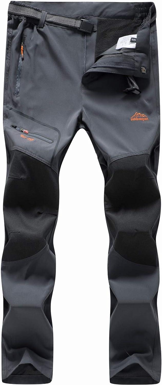 BenBoy Men's Snow Ski Outdoor Waterproof Windproof Fleece Cargo Hiking Pants: Clothing