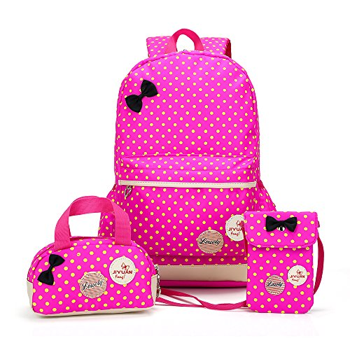 Backpacks for Girls, DIMY Polka Dot Waterproof Bookbags for Girls Kids Durable Polyester Kids School Backpack Sets Handbag Purse Girls Teen Pink 10 Years Old Pink DS02