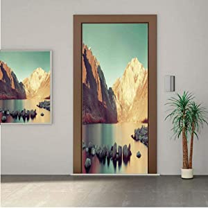 Ylljy00 Lake House Decor Door Wall Mural Wallpaper Stickers,Snow Mountain and Convict Lake with Reflections in Yosemite Countryside Scene 30x80 Vinyl Removable Decals for Home Decoration