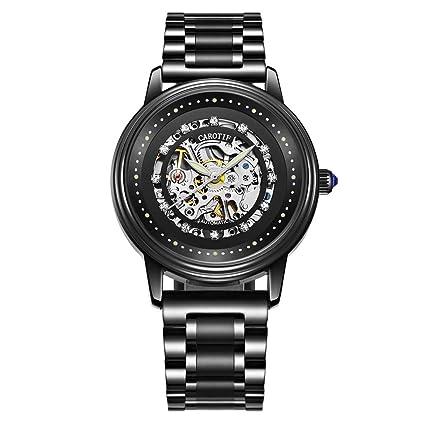 JAYE Relojes Mecánicos Hombres, Hombres Negros Automáticos Reloj De Acero Inoxidable Impermeable Luminoso,Blacksilvermovement