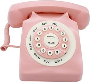 Retro Corded Landline Phone, TelPal Classic Vintage Old Fashion Telephone for Home & Office, Wired Home Phone Gift for Seniors (Pink)