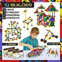 [Patrocinado] iQ Builder | Tallo juguetes de aprendizaje | creativo | de ingeniería de construcción divertido Educativo Juego de construcción de juguete para niños y niñas a partir de 5+ | mejor regalo juguete para niños | 164Pcs Kit incluye caja de juguete y 3libros electrónicos