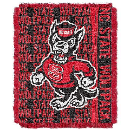 Officially Licensed NCAA North Carolina State Wolfpack Double Play Jacquard Throw Blanket, 48