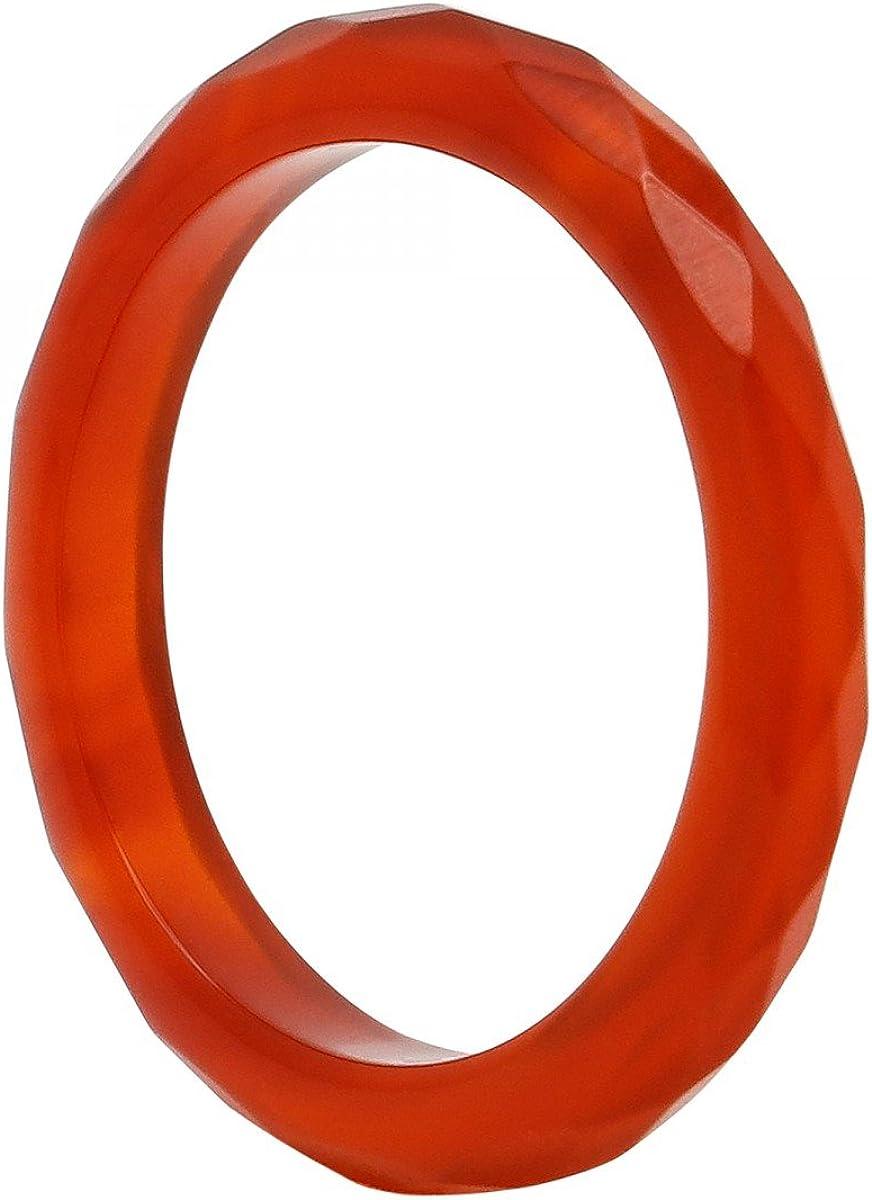 Anillo de cornalina Rojo de color marrón facettiert dedos Anillo Piedra Anillo 3mm estrecho ultrafina, tamaño de anillo: Interior Del EnvÍO 54mm ~ Ø17–17,25mm