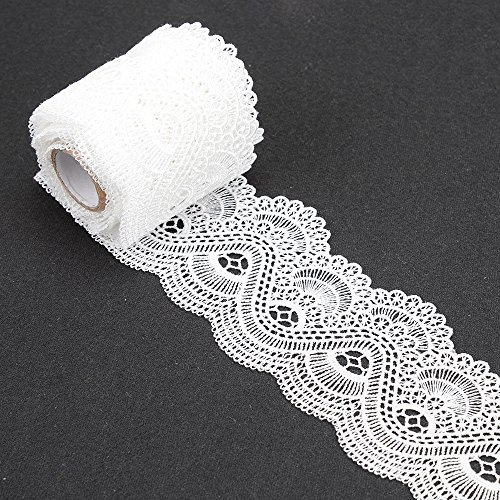Lace Trim 2 Yards Floral Eyelet Polyester Embroidered Fabric Applique Edge Ribbon White for Sewing DIY Craft MANVEN (Eyelet Applique)