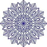 Vinyl Wall Art Decal - Mandala Figure - 23'' x 23'' - Adhesive Vinyl Sticker Decals - Home Apartment Workplace Decor - Yoga Studio Namaste Meditation Mandala Bohemian Flower (23'' x 23'', Blue)