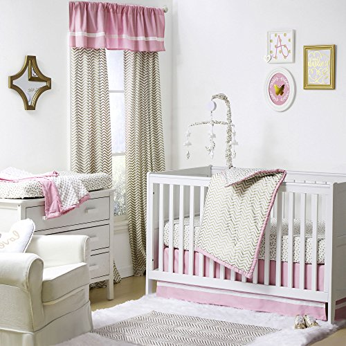 Princess Golden Zig Zag and Dots Crib Bedding - 11 Piece Sleep Essentials Set