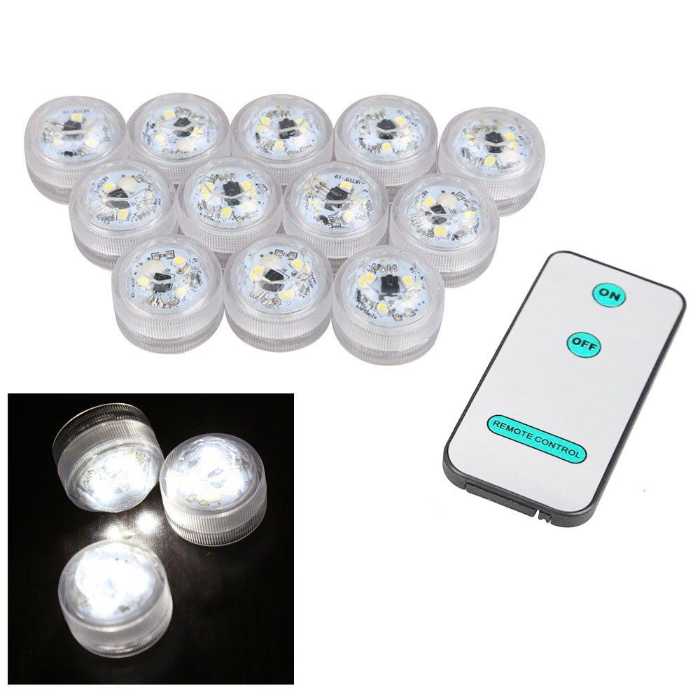 TOOGOO(R)12 Stueck wasserdichtes rundes Kerzenlicht 3 LED Lampe mit ...