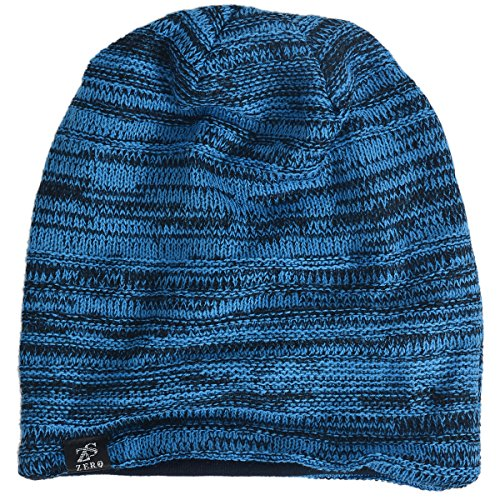Review VECRY Mens Slouchy Knit Oversized Beanie Skull Caps Hat (Brillant Blue)