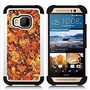 For HTC ONE M9 - leaves golden brown yellow forest Dual Layer caso de Shell HUELGA Impacto pata de cabra con im??genes gr??ficas Steam - Funny Shop -