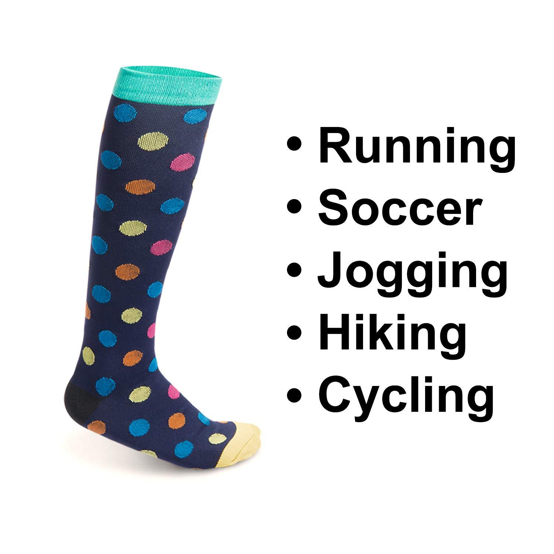 ZOEON Chaussettes de Compression pour Running Football Cyclisme Sport et Usage Occasionnel 3 Paires