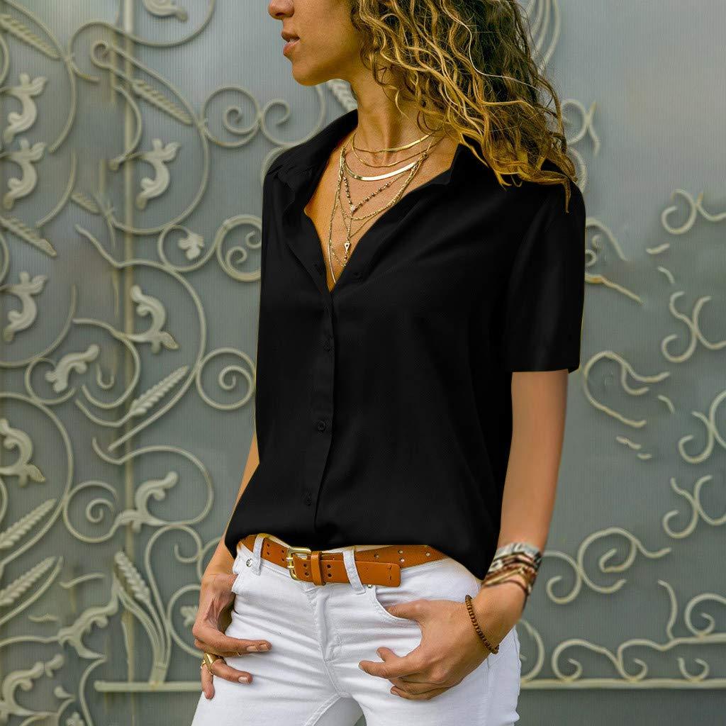 Long Sleeve T Shirt for Women THENLIAN Womens Chiffon Solid T-Shirt Office Ladies Plain Short Sleeve Blouse Top