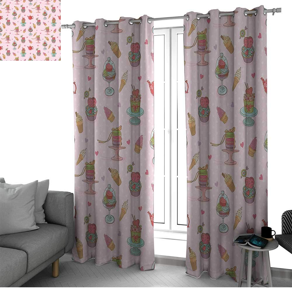 bybyhome Ice Cream Decor Blackout Window Curtain Panel, Solid Pattern Retro Cupcakes Teapots Candies Cookies on Polka Dots Vintage Kitchen Print Curtains for Bedroom Multicolor W84 x L84 Inch