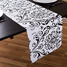 LinenTablecloth Black on White Damask Table Runner, 13 x 90-Inch