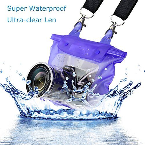 DR.DUDU SLR/DSLR Camera Waterproof Bag Underwater Camera Housing Case for Canon Nikon (Blue)