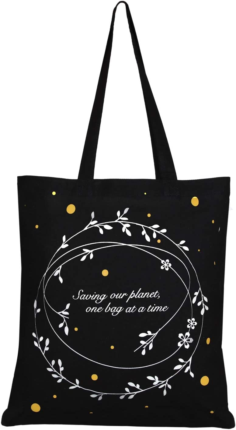 Eco-friendly Gifts for Women Kids Printed Houston Handbags Girls 0102B01 Black EONO Cotton Canvas Tote Bag Reusable Shopping Bag Grocery Shoulder Bags