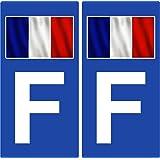 2 Autocollants de plaque d'immatriculation auto F France - Drapeau (Côté droit)