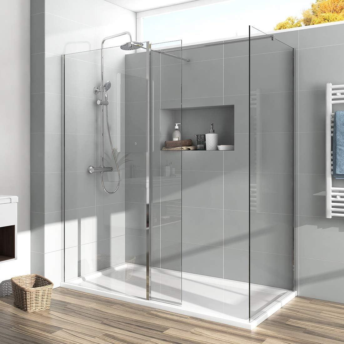 Mampara de ducha de 700 x 1200 mm con panel de 300 mm y bandeja de ...
