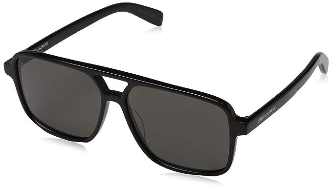 14a6762612 Amazon.com  SAINT LAURENT SL 176-001 Black Squared Sunglasses 58mm ...