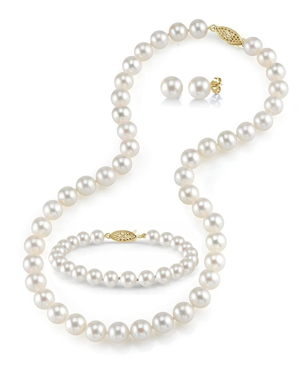 """14K Gold 7-8mm White Freshwater Cultured Pearl Necklace, Bracelet & Earrings Set, 18"""" - AAAA Quality"""