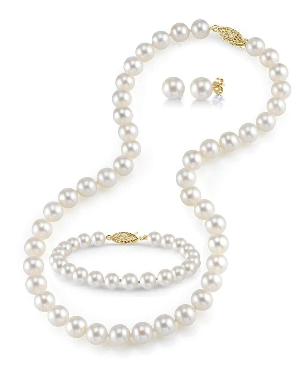THE PEARL SOURCE 14K Gold 8-9mm Round White Freshwater Cultured Pearl Necklace, Bracelet & Earrings Set in 18'' Princess Length for Women