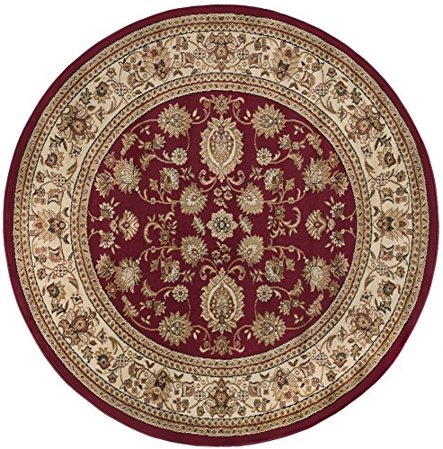 Gabrielle Traditional Oriental Red Round Area Rug, 5' Round