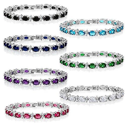 Gem Stone King 20.00 Ct Gorgeous Oval Round 7 Sparkling Cubic Zirconia CZ Tennis Bracelet
