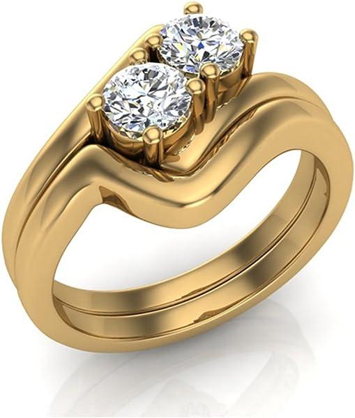 0,66 Ct TW two-stone Diamond Juego de Anillos de Boda 14 K oro (G, Si) extra-ordinary Calidad