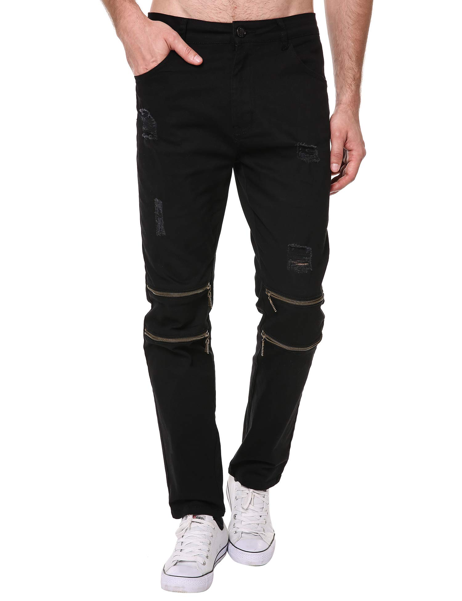 DAZZILYN Mens Slim Fit Stretch Ripped Destroyed Holes Skinny Jeans Zippers Denim Pants