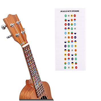 Pegatinas de aprendizaje para guitarra, con código de color de Alaman para aprender a tocar